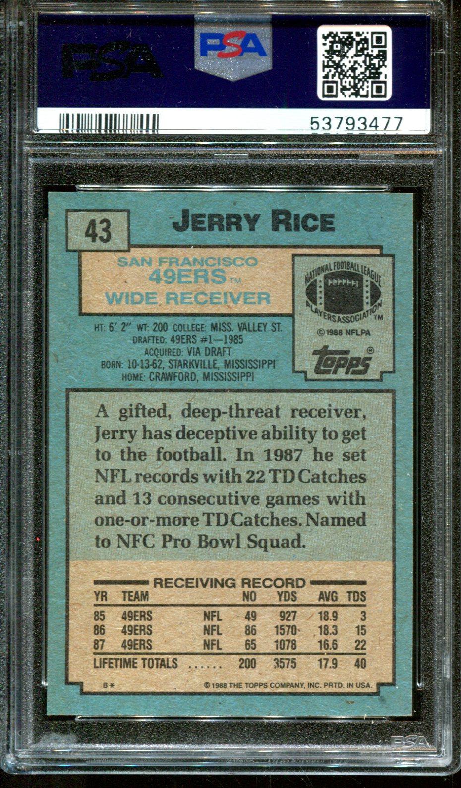 thumbnail 2 - 1988 TOPPS #43 JERRY RICE 49ERS HOF PSA 10 A3087643-477
